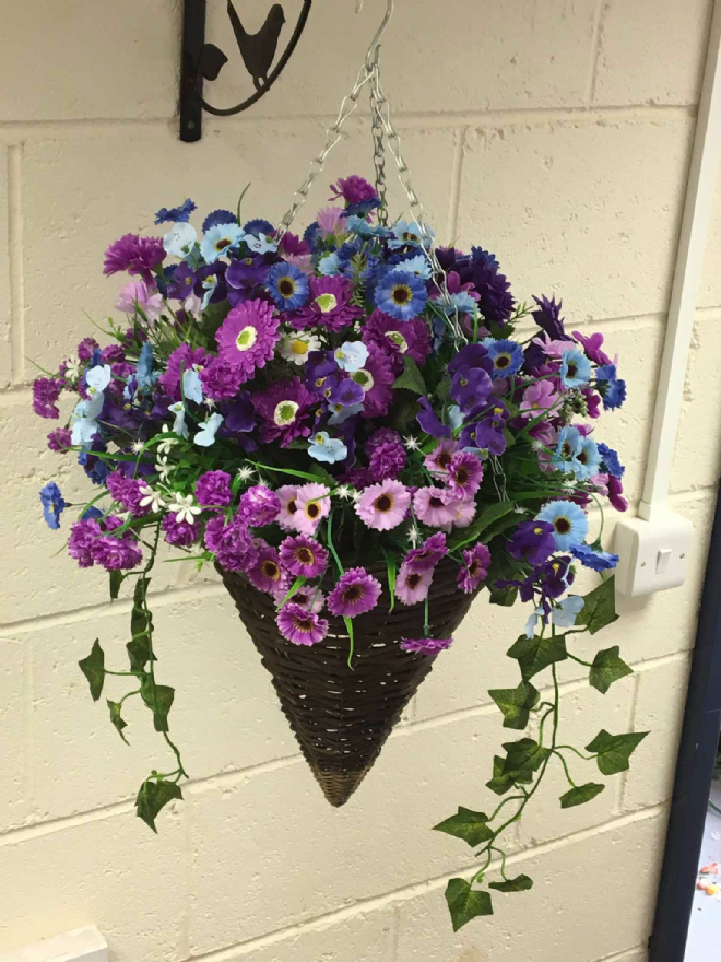 Round Wicker Artificial Flower Cone Hanging Basket - Purple and Blue with trailing Ivy